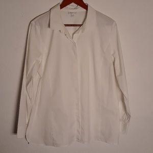 J.jill white stretch button down shirt